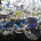 レインボー 八角 クリスタル ガラス ビーズ 10 ~ 20 mm サンキャッチャー 材料 パーツ シャンデリア インテリア (12mm70個セット)