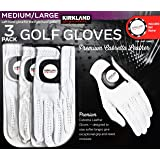 KIRKLAND SIGNATURE Men's Golf Gloves Premium Cabretta 3 Pack