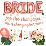 Bachelorette Party Decorations Kit | Bridal Shower Supplies | Bride to Be Sash, Ring Foil, Rose Glitter Banner | Pop The Cham