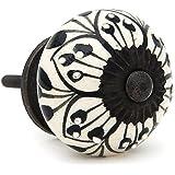 Black Flower Design Drawer Pull Cabinet Pull Drawer Knob - Pack of 12