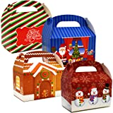 48 3D Christmas Treat Boxes Holiday Cardboard Paper Gable Boxes For School Classroom Party Favor Supplies Decor Candy Goodie