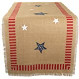 """DII 14x74"""" Jute/Burlap Table Runner, 4th of July - Perfect for Independence Day, July 4th Party, Summer BBQ and Outdoor Picni"""