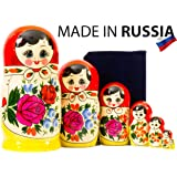 Russian Nesting Doll - Semenovo - Hand Painted in Russia - Traditional Matryoshka Babushka (10.25``(10 Dolls in 1)) 10.25``(1
