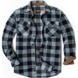CQR Men's Long Sleeve Heavyweight Fleece Shirts, Plaid Button Up Shirt, Warm Corduroy Lined Collar & Cuffs Shirt