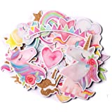Navy Peony Magical Rainbow Unicorn Stickers (34 Pieces)   Cute Sticker Pack for Party Favors and Scrapbooking   Kawaii Prince