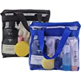 2 Pcs Portable Shower Mesh Caddy Bag Quick Dry Hanging Toiletry and Bath Organizer for Travel and Swimming with Zipper (Dark