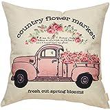 Fahrendom Farmer's Market Fresh Flowers Daily Vintage Truck Watercolor Floral Retro Farmhouse Quote Cotton Linen Home Decorat
