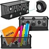 Mesh Magnetic Storage Baskets - Set of 3 (Black) with Anti-Slip Feature and Strong Magnets - Magnetic Locker Organizer and Pe
