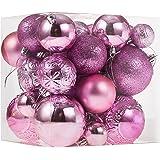 Christmas Ornaments for Xmas Trees,Pink Shatterproof Christmas Ball Ornaments of 32 pcs