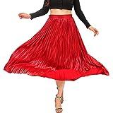 YRRETY Metallic Pleated Skirts for Women High Waist Shiny Sequin A-Line Long Midi Skirts Plus Size