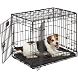 "MidWest Homes for Pets 1524DD Dog Crate | ICrate 24"" Double Door Folding Metal Dog Crate w/Divider Panel, Floor Protecting Fe"