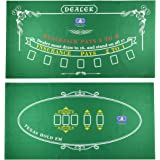 Tabletop Casino Felt Layout for Texas Holdem Poker and Blackjack - Premium Professional Grade Blackjack and Poker Mat for, Th