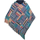 virblatt - Baja Poncho for Men Cotton and Reversible 2 in 1 Mexican Poncho with Embroidered Mandala