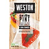 Weston 6-by-10-Inch Vacuum-Sealer Food Bags, 100 Count