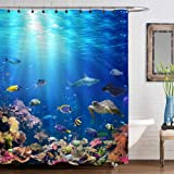 Underwater Scene with Coral Reef and Tropical Fish Shower Curtain Set for Ocean Themed Bathroom Decorations, Realistic Marine