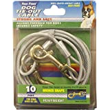 Four Paws Heavy Duty Dog Cable, 10-Foot Large Dog Tie Out Cable, Silver