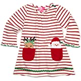 Good Lad Toddler Thru 4/6X Girls Red and White Stripe Cotton Dress with Holiday Appliques