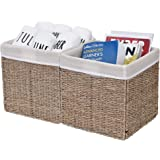 StorageWorks Foldable Seagrass Storage Basket with Iron Wire Frame, Natural Decorative Handmade Woven Wicker Storage Baskets