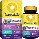 Renew Life Ultimate Flora Kids Probiotics 3 Billion CFU Guaranteed, 6 Strains, Shelf Stable, Gluten Dairy & Soy Free, 30 Chew