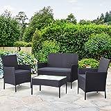 Gardeon Outdoor Furniture Rattan Set Chair Table Garden Wicker Patio Desk 4pc Dark Grey