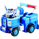 """Super Wings - 7"""" Paul's Police Cruiser with 2"""" Transform-a-Bot Paul Mini Figure 
