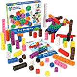 Learning Resources MathLink Cube Big Builders, Imaginative Play, Math Blocks, Math Cubes Manipulatives, Set of 200 Cubes, Age