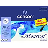 Canson Montval 300gsm Watercolour Practice Paper pad Including 100 Sheets, Size:24x32cm, Natural White and Cold Pressed (Not)
