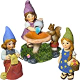 Mood Lab Miniature Garden Gnomes - Lady Gnomes Kit of 3 pcs - Figurines and Accessories Set