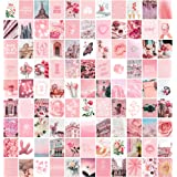 Pink Aesthetic Wall Collage Kit, 100 Set 4x6 inch, Room Decor for Teen Girls, Pretty Blush Pink Wall Art Print, Dorm Photo Co