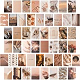CY2SIDE 50PCS Beige Aesthetic Picture for Wall Collage, 50 Set 4x6 inch, Cream Collage Print Kit, Warm Color Room Decor for G