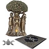 Sarimoire Altar Tarot Cloth Goddess Statue Tree of Life 5.5 in Cold Cast Bronze Statue Wicca Supplies Triple Moon Pentagram P