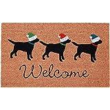 "Liora Manne NTR12206712 Natura Three Dogs NAT Outdoor Welcome Coir Door Mat, 18"" X 30"", Holiday"