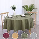 "Randall Holiday Round Tablecloth 70"" Waffle Stripe Water Proof Dust-Proof Table Cover for Kitchen Dinning Party Tabletop Deco"
