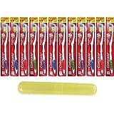 Set of 12 Individual Medium Toothbrushes & Travel Case Bulk Pack
