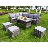 OSMEN Outdoor Furniture - Sienna Modular Kit/Set - Wicker Rattan (Grey)