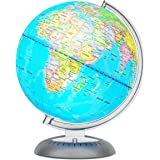 Illuminated World Globe for Kids with Stand – Built-in LED Light Illuminates for Night View – Colorful, Easy-Read Labels of C