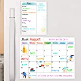 "Dry Erase Fridge Magnetic Calendar - White Board Magnetic Calendar for Refrigerator Wall Home Kitchen Decor, 15""x 11.5"", Bonu"