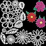 2 Sets Flower Metal Cutting Dies Flower Leaves Embossing Stencil 14 Styles 3D Die Cuts Stencil for DIY Crafts Scrapbook Album