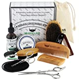 BEARDCLASS Beard Grooming Kit Set for Men (12 in 1) - 100% Bamboo Boar Beard Brush and.