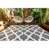 Outdoor Rug Morocco Grey and White