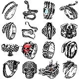 FIBO STEEL 16 Pcs Vintage Punk Rings Octopus Dragon Skull Snake Ring for Men Women Adjustable Cool Gothic Ring Set Jewelry