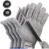 FORTEM Cut Resistant Gloves, 4 Gloves, Level 5 Protection, Food Grade, EN388 Certified (Medium)