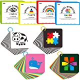 100 PCS 200 Page Black White Colorful 3D Visual Stimulation Learning Activity High Contrast Baby Flashcard for Newborn Baby I
