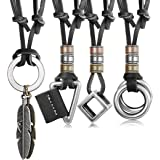 JOERICA 4pcs Leather Necklace for Men Women Vintage Feather Cube Chain Necklace Adjustable