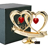 Matashi 24K Gold Plated Happy Anniversary Double Heart Table Top Ornament With Red Crystals