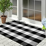 EARTHALL Buffalo Plaid Rugs, Cotton Hand-Woven Checkered Door Mat, Washable Outdoor Rug Farmhouse/Kitchen/Front Porch/Living