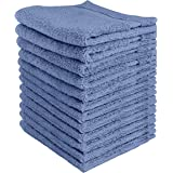 Utopia Towels - Premium Washcloths Set (12 x 12 Inches, Electric Blue) - 600 GSM 100% Cotton Flannel Face Cloths, Highly Abso