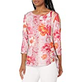 RUBY RD. Women's Riviera Floral Striped Top