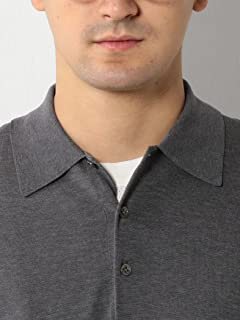 Fine Gauge Cotton Polo Sweater 1113-106-0384: Grey