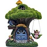 TERESA'S COLLECTIONS 7.7 Inch Flocked Tree Fairy Garden House Statue with Mushroom, Solar Powered Garden Lights Fairy Garden